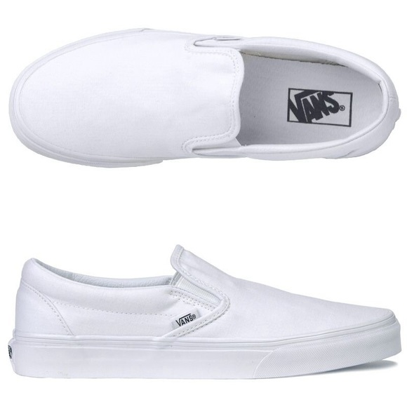 Vans Shoes | White Slip On Vans Sz 8